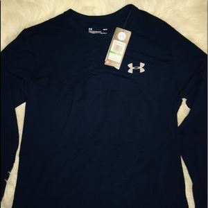 Under Armour Navy Long Sleeve Heat Gear Shirt LG